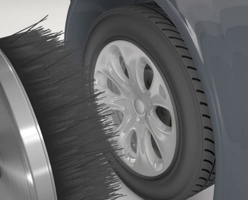 Felgenreinigung mit Bürsten zur Autowäsche