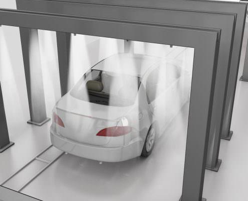 Auto wachsen in der Autowaschanlage